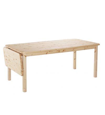 Orsa matbord 120x80 cm + klaff 40 cm i naturlackad furu