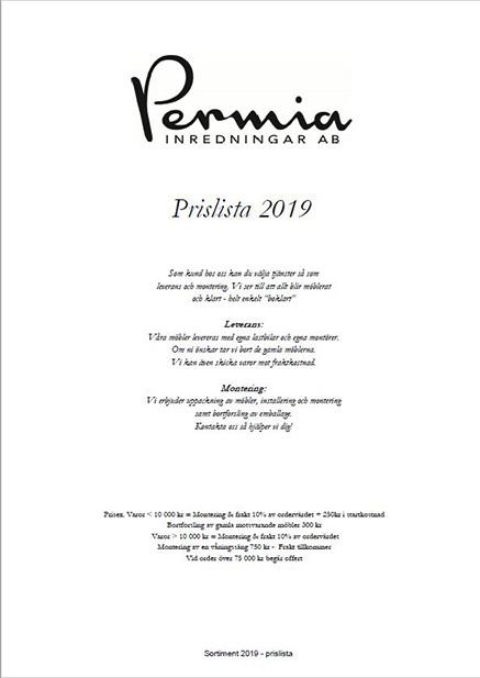 Prislista Permia
